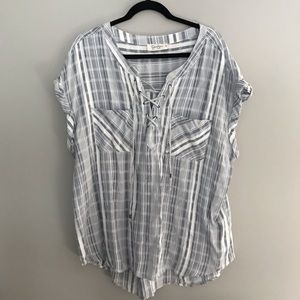 Jessica Simpson Lattice Tie Pocket Shirt Size 2x